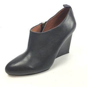 SEE BY CHLOE Blue Leather Wedge Zip Up Booties 8.5